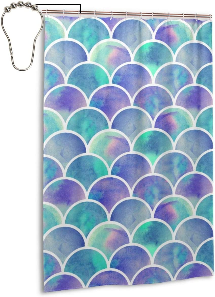 Colla Mermaid Tail Scales Fish Scale Pattern Bath Shower Curtain Durable Polyester Fabric Waterproof with 9 Hooks 48x72 Inch for Bathroom Home Decor
