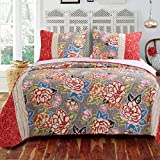 Blue, Red, Green, Orange, Pink and Grey Cotton with Reversible, 3-Piece King Quilt Set and Geometric Pattern Includes Scented Tart