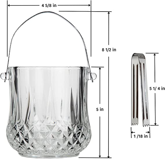 This Beautiful Piece is Ideal for Entertaining and Every Day Use Lily/'s Home SW624 Lilys Home Glass Ice Bucket with Handle and SS Tongs