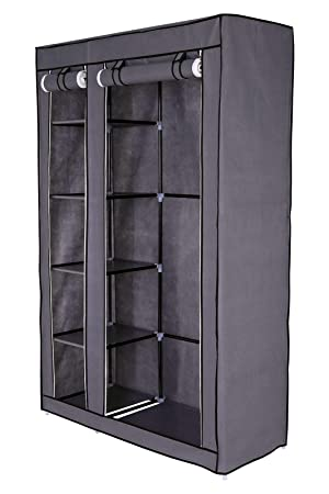 Dibea Wr00319 Faltbarer Stoff Kleiderschrank 175 X 110 X 45 Cm Grau