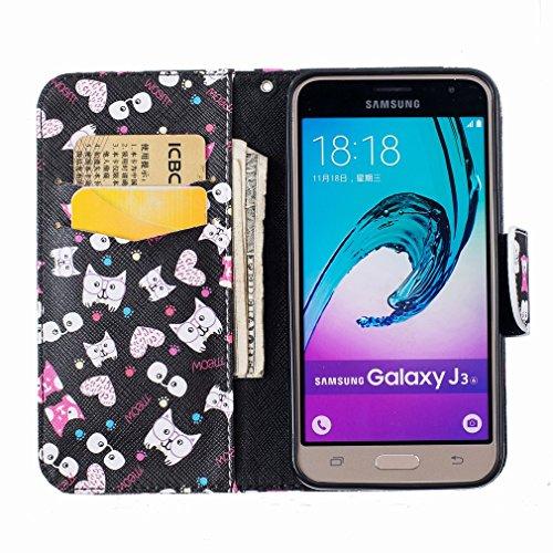 Yiizy Samsung Galaxy J3 (2016) J320 Funda, Gato Vasos Diseño Solapa Flip Billetera Carcasa Tapa Estuches Premium PU Cuero Cover Cáscara Bumper Protector Slim Piel Shell Case Stand Ranura para Tarjetas