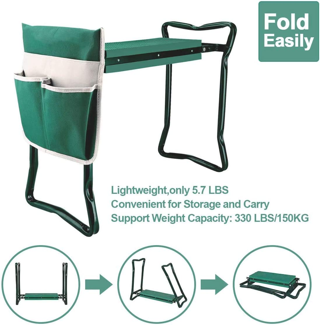 Besthls Garden Kneeler and Seat Stool Heavy Duty Garden Folding Bench with Large Tool Pocket and Soft EVA Kneeling Pad for Gardening Lovers