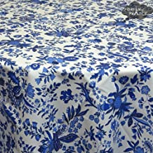 """60"""" Round Versailles Blue Cotton Coated Provence Tablecloth by Le Cluny"""