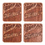 Long Kitchen Island Long Island Map Coaster by O3 Design Studio, Set Of 4, Sapele Wooden Coaster With City Map, Handmade
