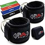 Paafit Pair of Ankle Straps Bundled with 4 Resistance Bands & Storage Box, Padded Double D-ring Cuffs with Extra Safety System for Cable Machines, Fitness Equipment for Legs, Abs, Hips & Glutes
