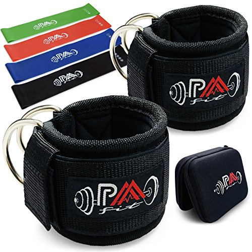 Paafit Pair of Ankle Straps Bundled with 4 Resistance Bands & Storage Box, Padded Double D-ring Cuffs with Extra Safety System for Cable Machines, Fitness Equipment for Legs, Abs, Hips & Glutes by Paafit