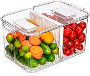 Slideep Food Storage Containers Fridge Produce Saver, Stackable Refrigerator Organizer Keeper Foldable lid with Removable Drain Tray for Produce, Fruits, Vegetables M Size