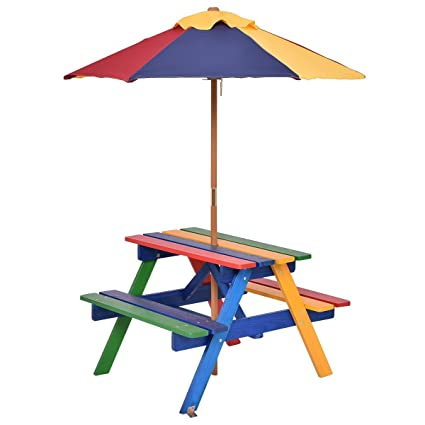Amazing Costzon Kids Picnic Table Set Colorful Wood Picnic Table And Benches With Removable Folding Umbrella Children Rainbow Bench Outdoor Patio Set Download Free Architecture Designs Scobabritishbridgeorg