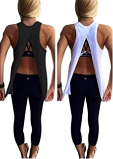 9487622bbd Mazonyi Women s Sexy Open Back Yoga Workout Tops Backless Shirt Active  Workout Clothes