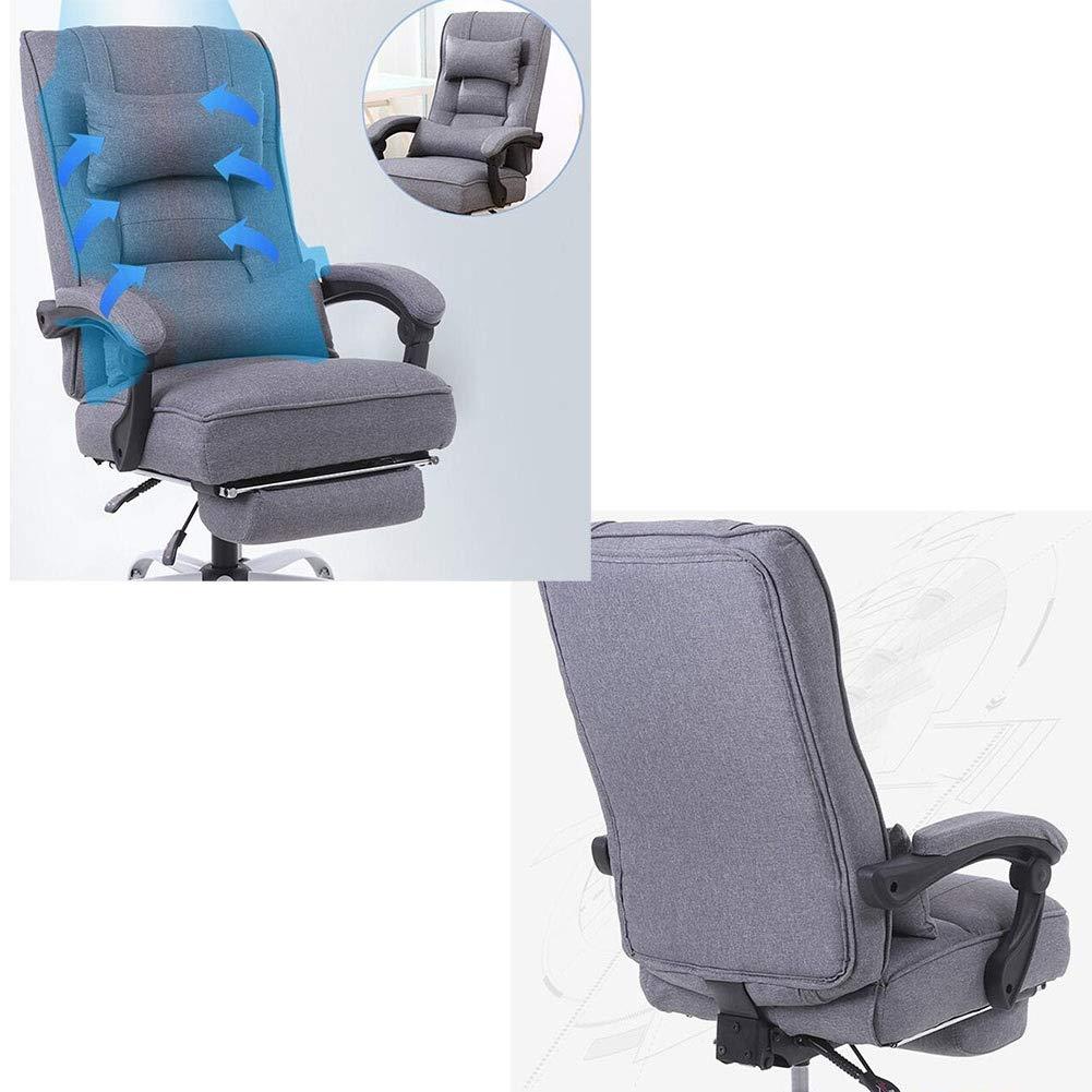 DALL kontorsstol lutningsfunktion ergonomisk 360° svängbar dator spelstol justerbar höjd teleskopisk fotstödsmontering (färg: grå) Grått