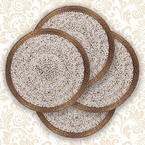Decozen Handmade Round Beaded Placemat for Coffee Table Dining Table High Quality Beads Heat Resistant Scratch Proof and Easy to Care Kitchen Décor Table Mat with Diameter 14 inches - Antique Gold