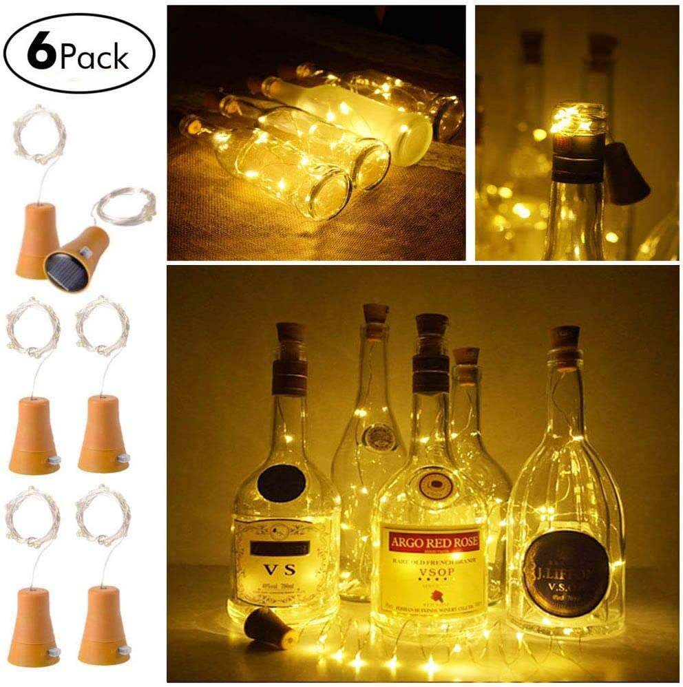 6 Pack Solar Powered Wine Bottle Lights, 20 LED Waterproof Copper Cork Solar Lights for Wedding Christmas, Outdoor, Holiday, Garden, Patio, Pathway Decor (Warm White)