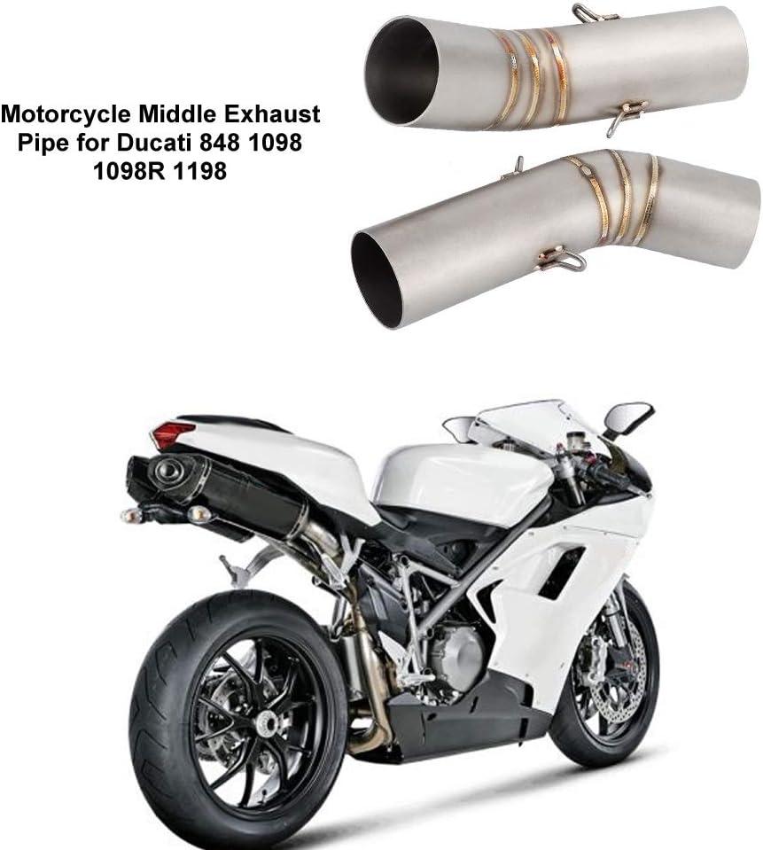 KSTE Modificaci/ón de la Motocicleta de Escape Medio Enlace Tubo de Escape for Ducati 1098R 1198 848 1098