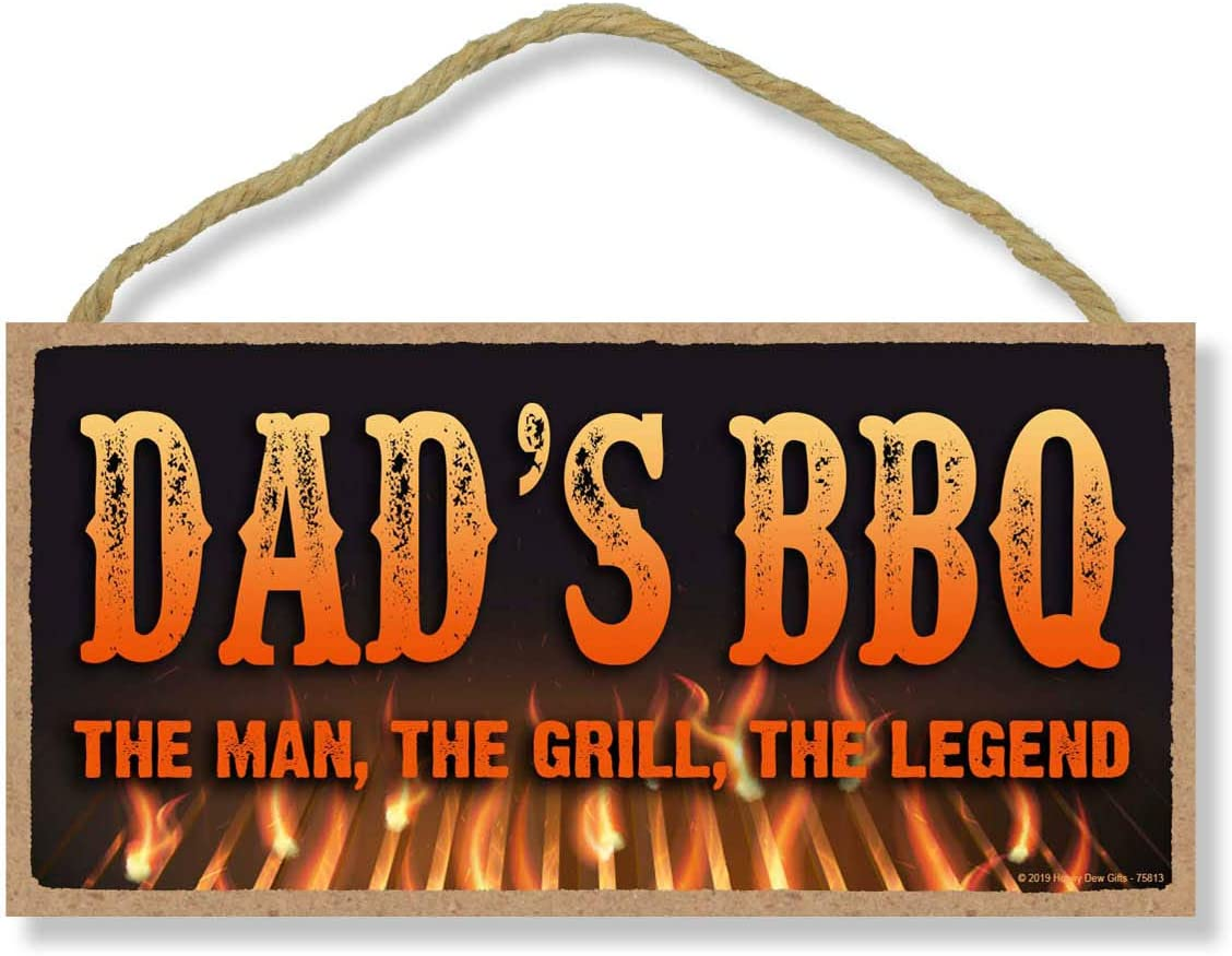 Honey Dew Gifts Man Cave Decor, Dad's BBQ The Man, The Grill, The Legend 5 inch by 10 inch Hanging Wall Decor, Decorative Wood Sign, Kitchen Sign
