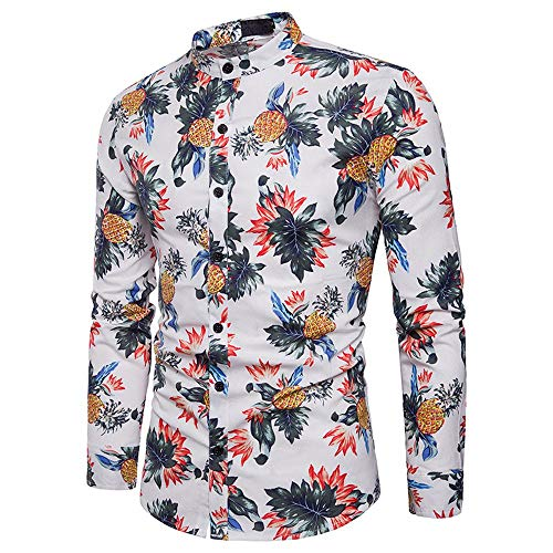 ZYEE Clearance Sale! Men's Casual Shirt Printed Slim Fit Long Sleeve Casual Button Shirts Formal Top Blouse