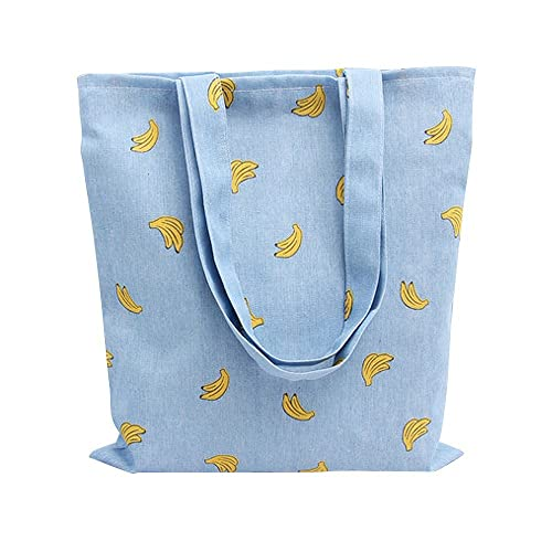 Caixia Women's Cotton Banana Print Blue Canvas Tote Shopping Bag
