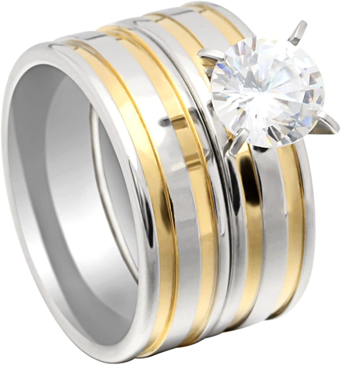 Ginger Lyne Collection Fawn Beautiful 2pcs Stainless Steel Engagement Wedding Ring and Band Set