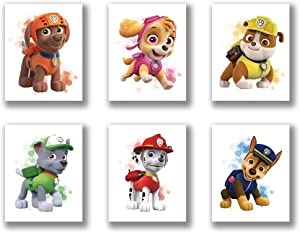 "HB-101 Cartoons Paw Patrol Puppy Art Painting Set of 6 (8""X10""Canvas Picture) Used for Nursery Wall Poster Kids Boys Birthday Gift Game Room Decor Frameless"