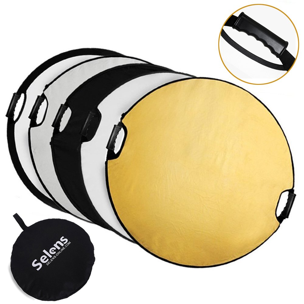Amazon reflectors lighting controls modifiers electronics selens 5 in 1 43 inch 110cm portable handle round reflector collapsible aloadofball Choice Image