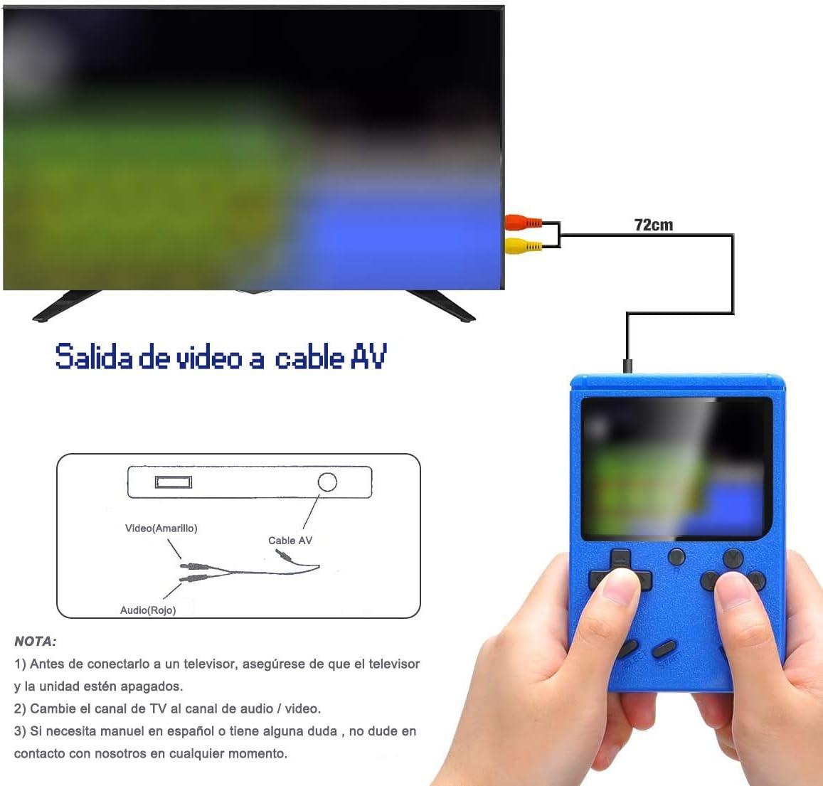 Tanouve Consola Retro, Videoconsolas Consola de Juegos Portátil con 400 Juegos Clásicos Pantalla LCD 3 Pulgadas Soporte Conectar TV 2 Jugadores para Hombres Amigosen Navidad-Azul: Amazon.es: Electrónica
