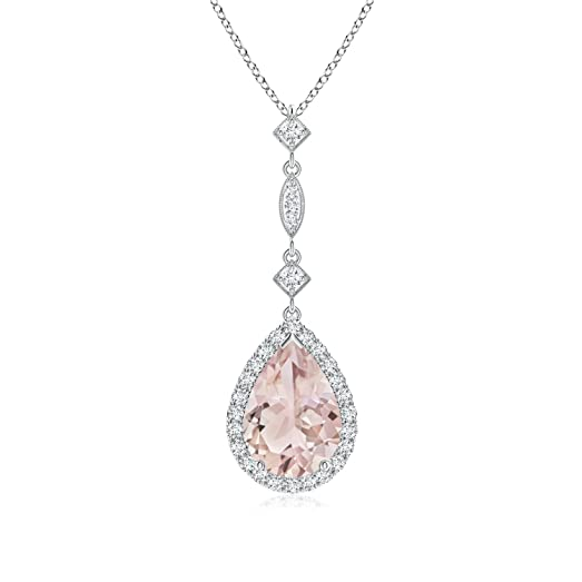 Angara Morganite Teardrop Necklace in Platinum h5wiNxEj