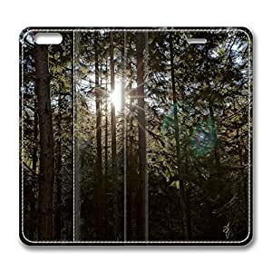 iPhone 6 Plus Case, Fashion Customized Protective PU Leather Flip Case Cover Sun Between Trees for New Apple iPhone 6(5.5 inch) Plus