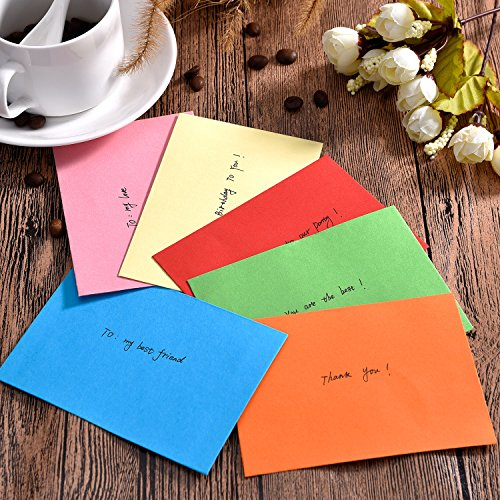 Bememo 60 Pieces Mini Envelopes Multi Color Cute Lovely Envelopes (4.6 x 3.2 Inch) for Gift Card Wedding, Birthday Party Supplies Photo #5