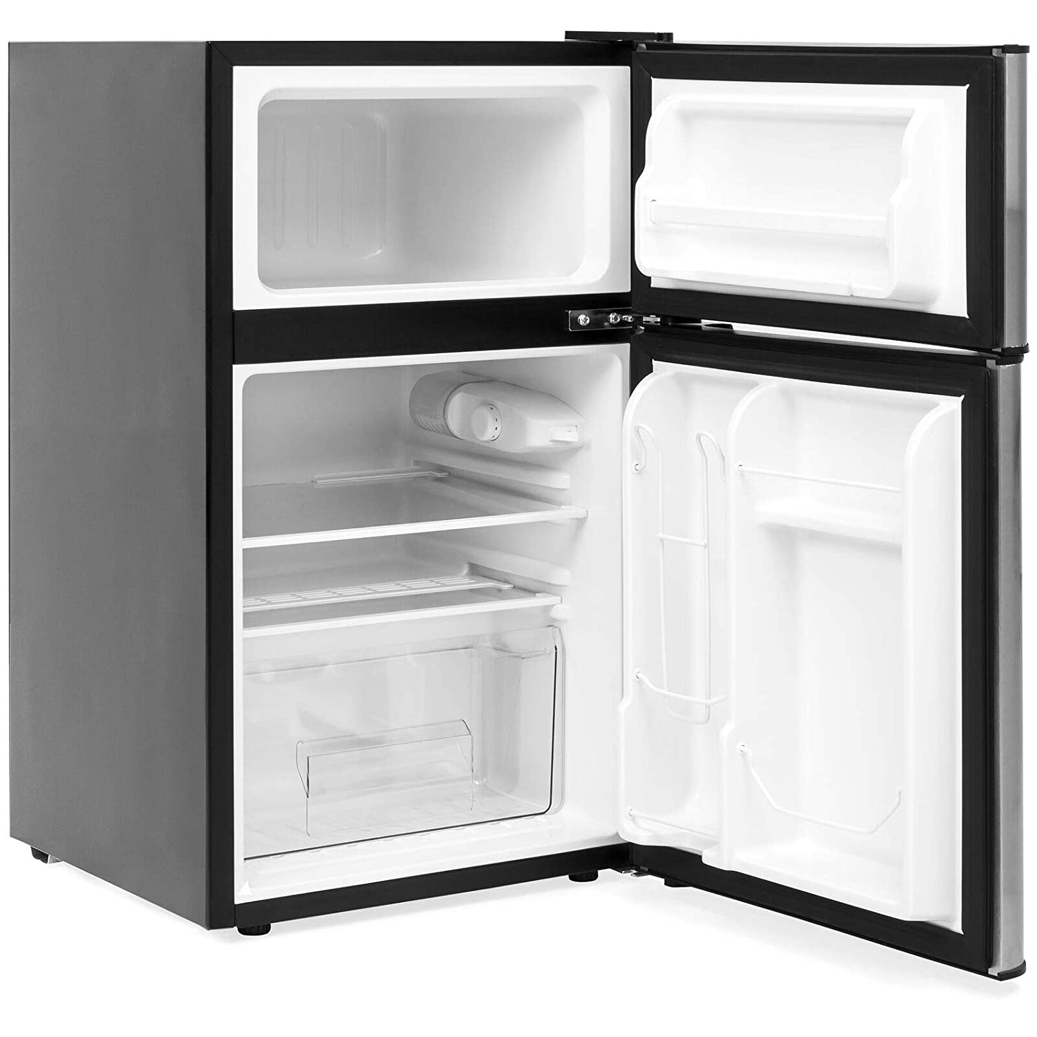 Compact Keep Cool Material Stainless Size Small Temperature 2 doors Adjustable Suitable Safe Food Vegetable Fruit Beverage Total Ice Tray Mini Refrigerator For Office Dorm Garage Bedroom Living Room