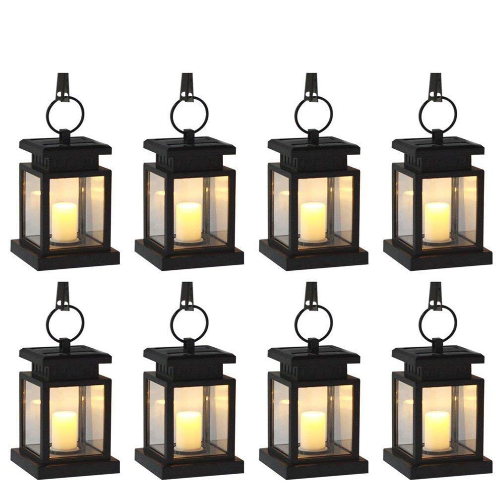 Derlights [Pack of 8] Vintage Waterproof Solar Powered Hanging Umbrella Lantern Portable Led Candle Lights with Clamp for Beach Umbrella Tree Pavilion Garden Yard Lawn Camping Lighting & Decoration