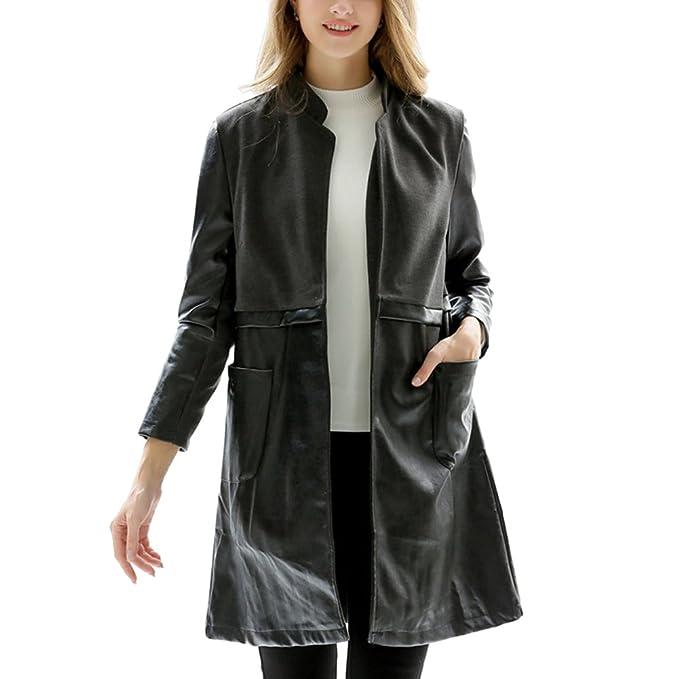 Donna giacca di PU pelle lunga cappotto nero trench giubbotti invernali  parka  Amazon.it  Abbigliamento 88e2f0a79e7