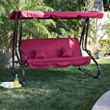 Belleze 3 Seat Porch & Patio Swing/Bed with Pillow -Burgundy