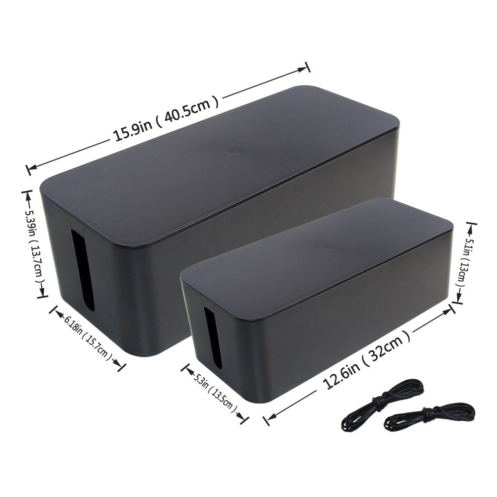 [Set of Two] Black Cable Management Box Cord Organizer, Large Storage Holder for Desk, TV, Computer, USB Hub, System to Cover and Hide & Power Strips & Cords - 16'' x 6.2'' x 5.4'' and 13'' x 5.3'' x 5''