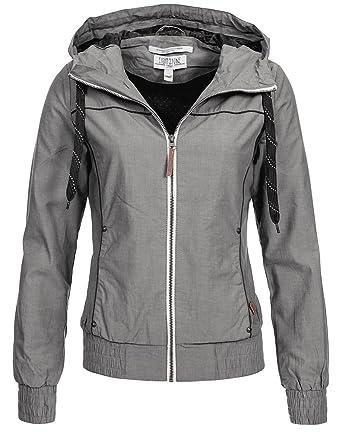 Eight2Nine Damen Jacke Übergangsjacke LETN 008 mit Kapuze Blouson, Kontrast Zipper