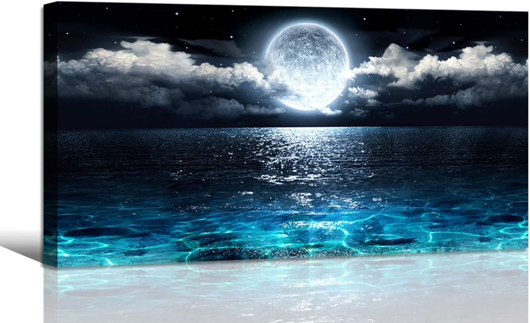Fantasy Moon Canvas Pictures Boy Fishing In The Sea Landscape Large Poster