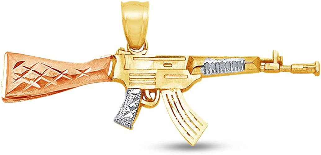 14k Yellow White Rose Gold Rifle Gun Pendant AK-47 Machine Gun Charm Bold Design