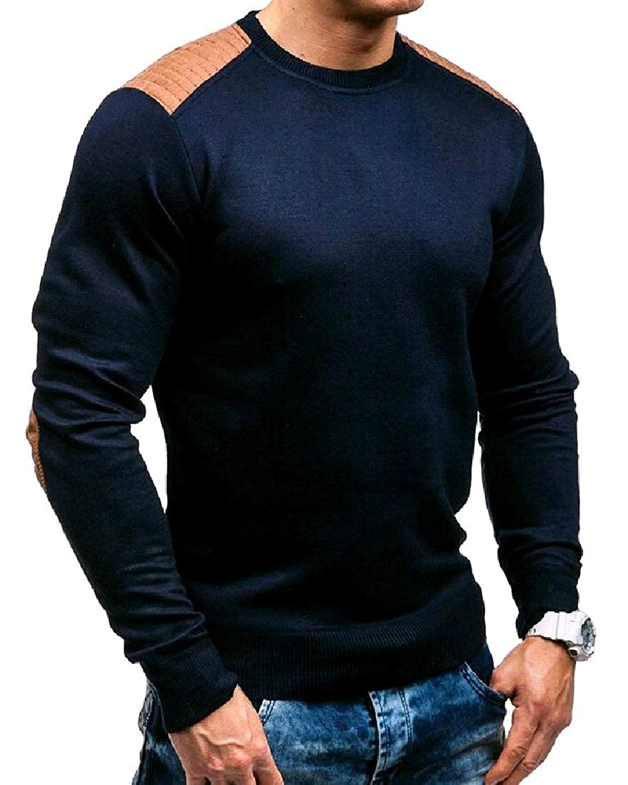 YUNY Men Silm Fit Warm Juniors Plus Size Knitted Pullover Sweaters Navy Blue XL