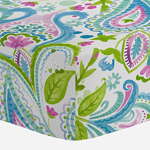 - Carousel Designs Orchid Painted Paisley Crib Sheet - Organic 100% Cotton Fitted Crib Sheet - Made in the USA