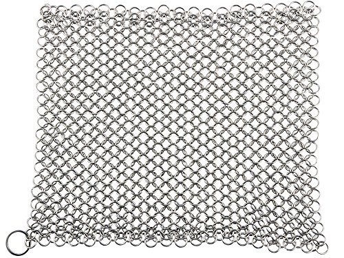 Cast Iron Cleaner and Scrubber by Küche Chef. XL 8x8 Inch Premium 316 Stainless Steel Chainmail Scrubber by Kuche Chef (Image #1)