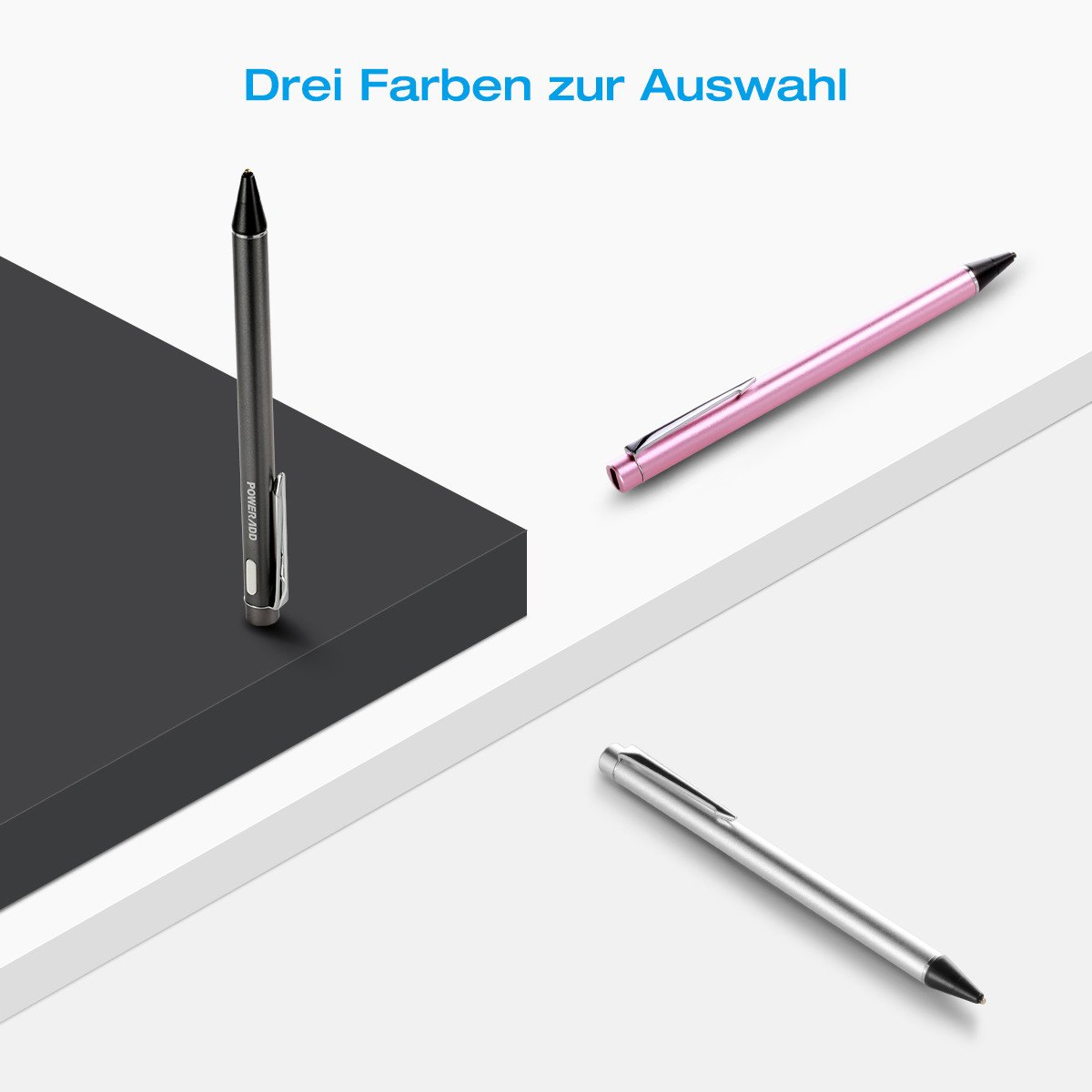 Poweradd elektronischer aktiver Stylus Stift, präziser aufladbarer Eingabestift kapazitiv mit dünner Spitze, tolles Gefühl beim Spielen, Zeichnen und Schreiben auf Touchscreen Apple iPhone, iPad, iPad Mini, iPad Air 2, Handys, Smartphones T