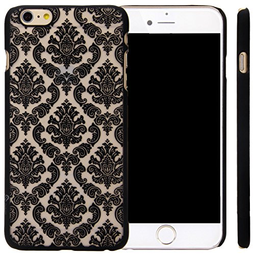 iPhone 6/6S Case, Berry Accessory (TM) Damask Design Pattern Rubber Coating Ultra Slim Fit Hard Hybrid Case Cover for Apple iPhone 6/6S (4.7 inch) + Berry logo stand holder (Black)