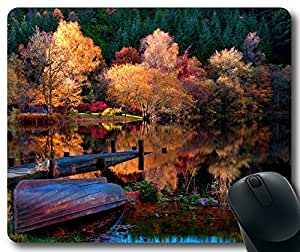 The-Autumn-Lake-Forest-Morning Mousepad,Rectangle Mouse Pad