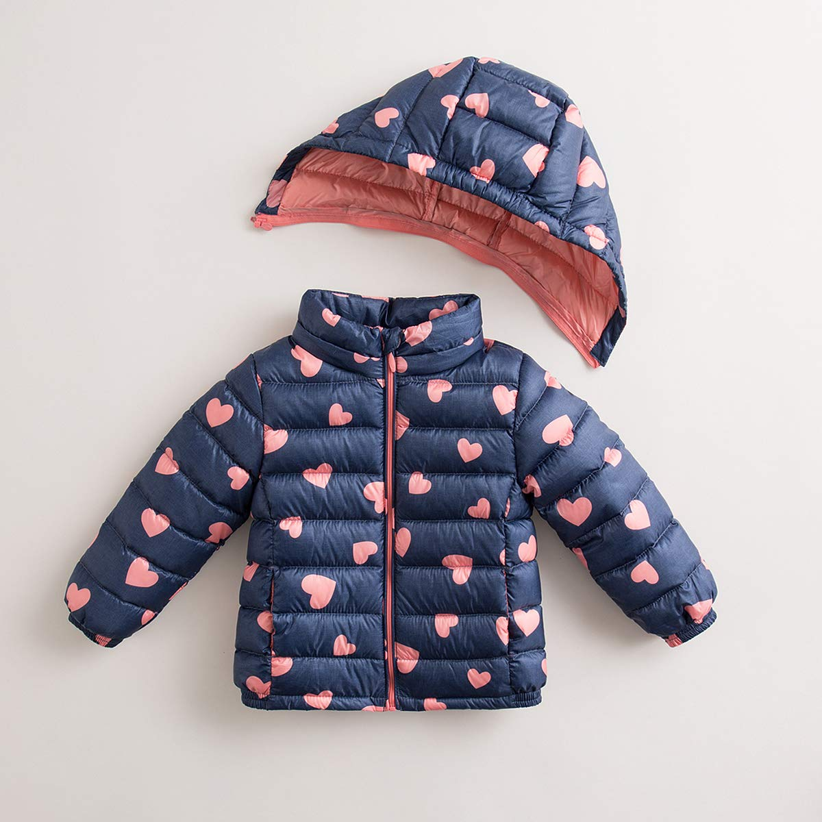 marc janie Little Boys Girls' Winter Pattern Printing Ultra Light Weight Down Jacket Blue Pink Love 3T (90 cm) by marc janie (Image #2)