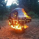 Custom Designed Death Star Fire Pit (37 Inch Diameter, Raw Steel) (Black Ceramic)