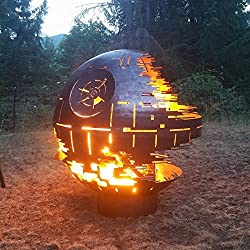 Custom Designed Death Star Fire Pit (37 Inch Diameter, Raw Steel) (Black Ceramic)