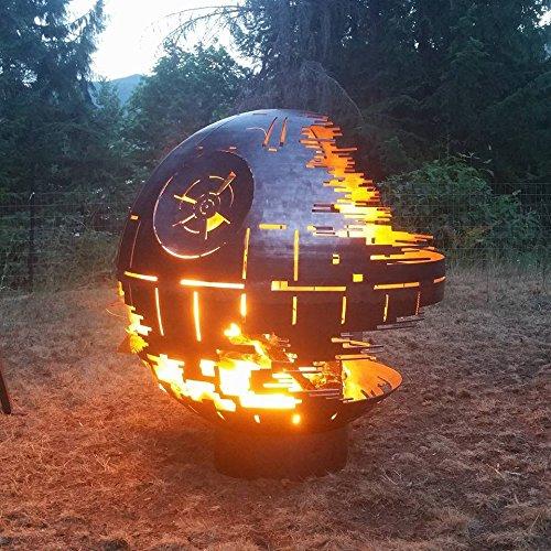 Custom Designed Death Star Fire Pit (36 Inch Diameter, Raw Steel) (Black Ceramic)