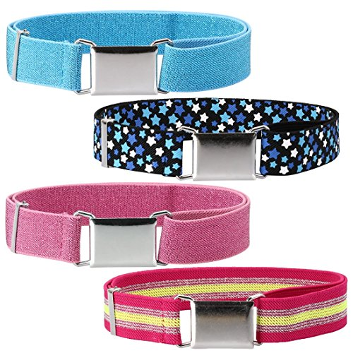 Toddler Elastic Belts Adjustable (Ava & Kings 4 Pack Childrens Girls Mixed Design 1 Inch Adjustable Elastic Easy Belts - Quick Buckle Clasp w/Soft, Comfortable, Stretchy Waistband for Kids Toddlers Baby - Set 3: Pink/White)