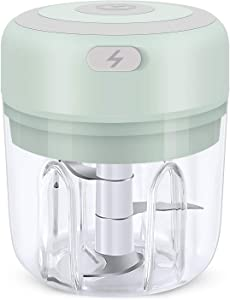 Hawiton Mini Electric Chopper 250ML, Portable Food Chopper and Grinder for Kitchen- Garlic Press Chopper/Food Grinder/Masher/Blender for Garlic, Onion, Vegetables, Meat, Mincing& Puree Food Processor