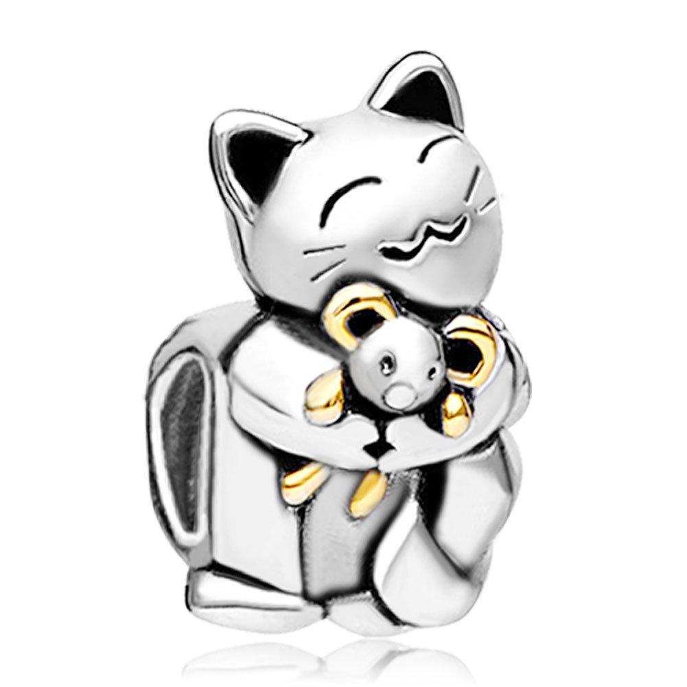 Uniqueen Abalorio para pulsera, diseño de con un gato sonriente abrazando a un ratón, compatible con pulseras Pandora