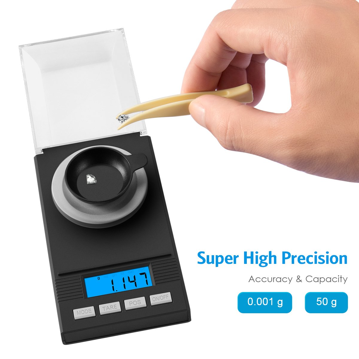 AMIR Digital Milligram Scale, Mini Precise Jewelry Scale, 50g/ 0.001g Pro Lab Scale with Calibration Weights Tweezers and Weighing Pans, 6 Units, Tare & PCS Function, Auto Off, for Gems, Diamond, etc by AMIR (Image #2)