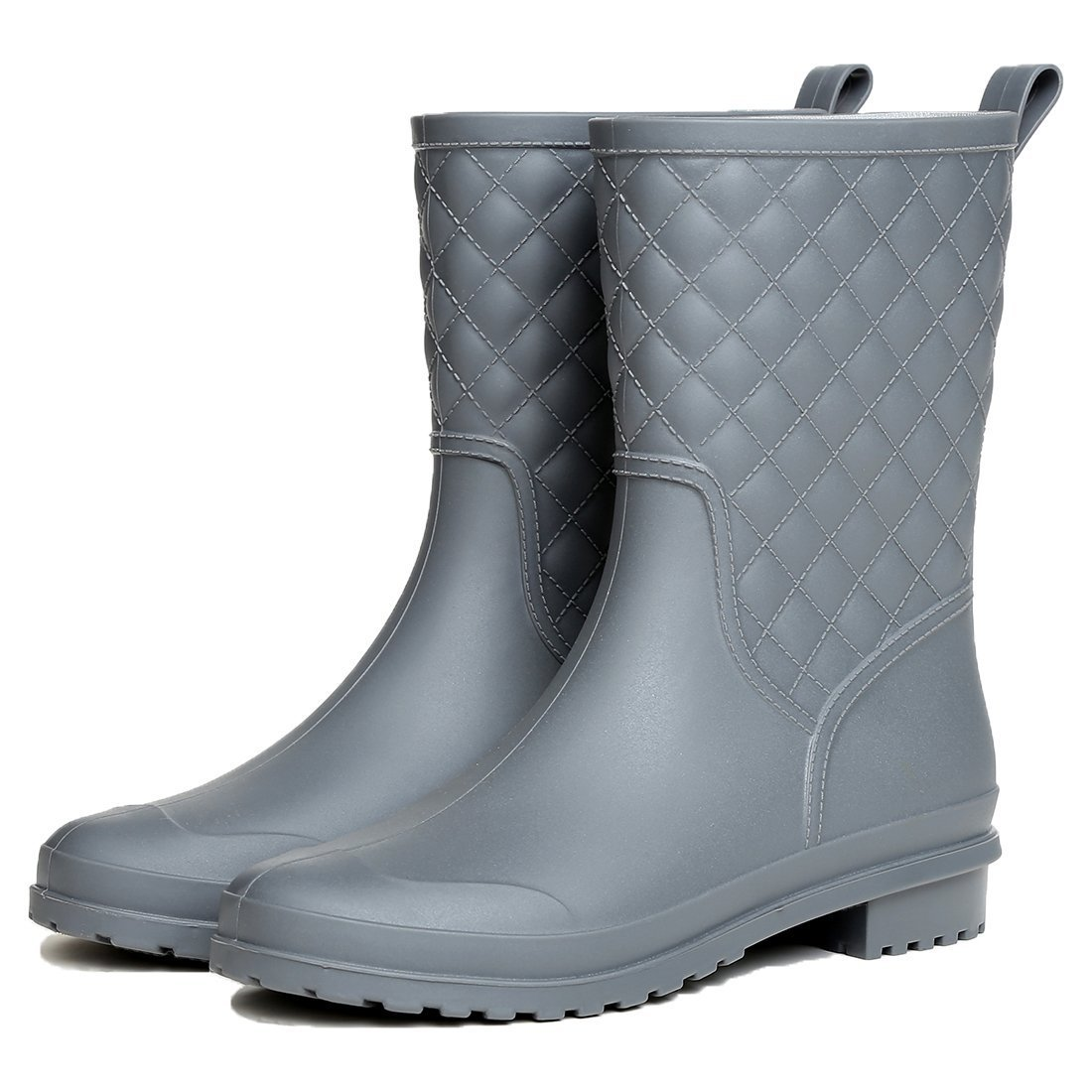 Litfun Womens Black Mid Calf Rain Boots Outdoor Work Waterproof Garden Booties Wide Calf Rain Shoes